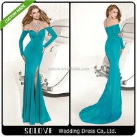 Long Sleeve Beaded Thai Silk Evening Dress 2014 Tarik Ediz