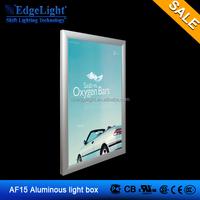 Edgelight indoor advertising display AF15 aluminum frame 889*632mm double side slim light box ,hanging led slim light box