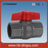 PVC ball valve, grey / white color red handle ball valve