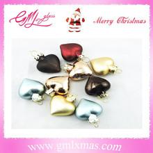 new fashionable christmas mini ornaments heart shaped glass ornaments,mini heart chain ornaments for decoration