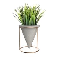 Metal rack circular cone concrete planter