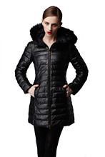 Ladies New Style Sheep Skin Down Jacket with Fox Fur Collar High Quality Black Leather Jacket