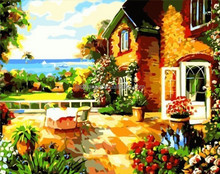 The Villa on the Sea Beach oil painting with EN-71,ASTM,SGS