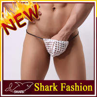 Shark Fashion sexy men c string thong underwear for black men breathable fishnet