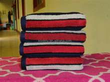 KLM-154 china factory guarantee blue,red,gray color striped design towel cheap wholesale cotton towel fabric