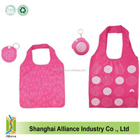 Nylon reusable foldable shopper bag easy to carry handle bag