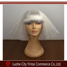 Factory Price White Color Fashion Lady Gaga Synthetic hair Wigs