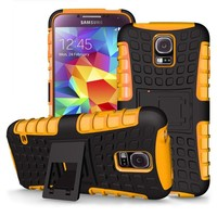 Shockproof Cover Heavy Duty Rubber PC Hard Case For Samsung Galaxy S5 + Screen Protector