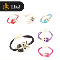 >>2015 New Women's Retro Animal Owl Decoration Faux Leather Charm Bracelet for Christmas New Year Gift//