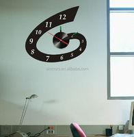 New Design Black Color Printed Home Decor Vinyl Wall Decal Sticker, Removable 3D Acrylic Fashion Kids DIY PVC Wall Sticker Clock