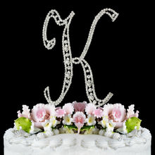 2014 new arrival shiny crystal letter cake topper for cake