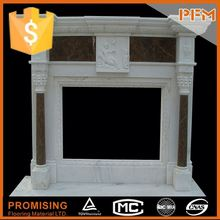 pure white marble cheap stone fireplace mantle surround