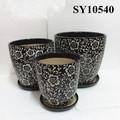 decorativos de cerámica negro de macetas de jardín