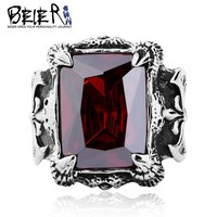 Man Punk Rings Vintage 316L STAINLESS Steel Red Gem Finger Ring With Stone Fashion Jewelry Hot Sale Item BR8-058