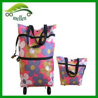 Customized high quality folding shopping bag with wheels