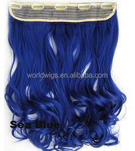 Sea blue color 5 clips sinlge piece kanekalon synthetic curly clip hair extension