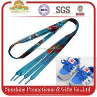 Customized cheap sublimation polyester fabric shoelace