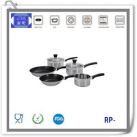 2015 new products aluminum core 18 10 stainless steel triply clad cookware set ( 20cm stock pot , 18cm fry pan )