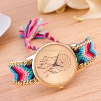 Women Attractive Geneva Ethnic Braided Analog Quartz Chain Bracelet Wrist Watch