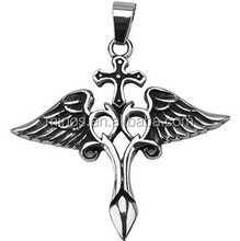 316L Stainless Steel Winged Cross Pendant Women's gothic cross pendant with angelic wings
