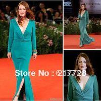 Custom Made 2012 Venice New Arrival Cap Long Sleeves Deep V-Neck Green Simple Celebrity Evening Dresses 82107