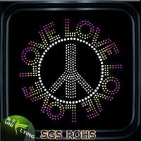 Wholesale LOVE for peace rhinestone hotfix motif design