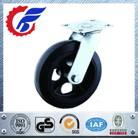 100mm thru 200mm Heavy Duty Rubber On Cast Iron Caster Wheel With Swivel Top Plate