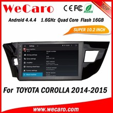 WECARO Bluetooth Car Usb Interface 2 Din Radio GPS Navigation System Pure Android 4.4 Car Stereo For Toyota Corolla 2014 2015