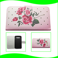 Mobile Phone Fancy Flower Printing Cusom Leather Cover TPU Silicon Case for Samsung Galaxy Grand Duos I9082