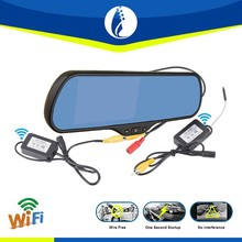 Car Rear View Mirror with GPS and Wireless Parking Camera with 5 Inch Screen, Speed Radar Detector, Bluetooth