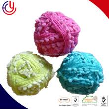 Hoyia Super soft acrylic nylon PomPom Ruffle scarf fishnet knitting Yarn