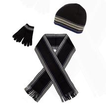 Black striped hat, scarf and gloves set