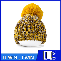 Yellow Knitted Woolen Hat With Wool Ball For Light Color