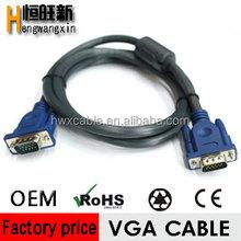 China manufacturing factory nickel plated 15pin vga 3+6 cable