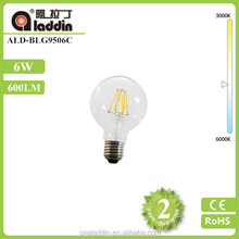 6w dimmable filament led e27 clear glass round bulb