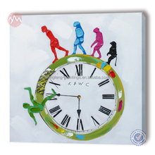 100% handmade canvas with clock wall decoration