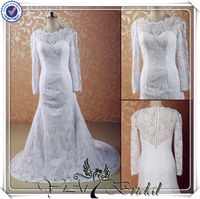 JJ3529 high neck plus size long sleeve wedding gowns mermaid