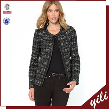 Women Round neck studed Tweed Jacket with Faux Leather Trim