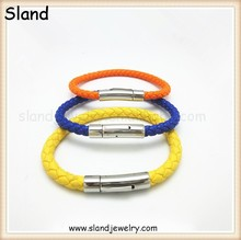 China alibaba mix colors Costume jewelry wholesale leather bracelets women snaps button, stainless steel magnetic clasps leather