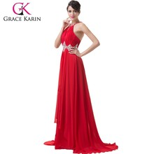 2015 Grace Karin New Arrival Sexy Ladies Halter Backless Long Chiffon Evening Dresses Red CL6184