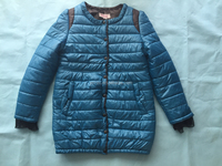 Quilted new style lace trim puffer satin sports jacket softshell down ladies long leather coats