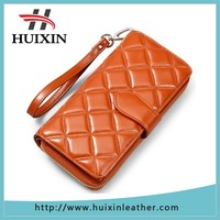 Soft genuine leather women long wallet customized suede leather long wallet