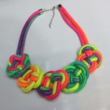 stylish handmade cotton rope woven special knot multicolor necklace jewelery
