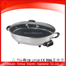 Electric solid metal cheap hot pot with grill