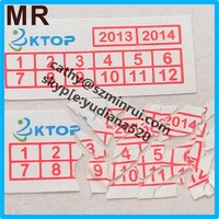 Cheaper price tamper proof feature self adhesive warranty label with date and logo,high quality design custom security sticker