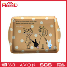 Light brown color cute cartoon boy and girl print cafeteria melamine customized tray