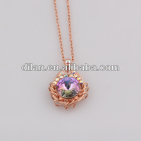 Evil eye jewelry rose gold tone blingbling rhinestone turkey blue fluorite diamond cut bead changing color mood necklaces
