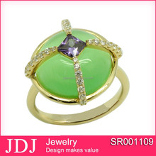 Fancy Gold plating New Model Green Jade 925 Silver Signet Ring Design