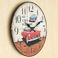 Hot sales Large Wall Clock Car Vintage Rustic Shabby Chic Home Office Cafe Bar Decoration Art MDF Gift For Family