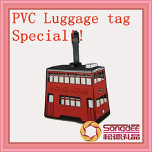 Special! New!! custom double layer bus shaped promotional item soft pvc luggage tag